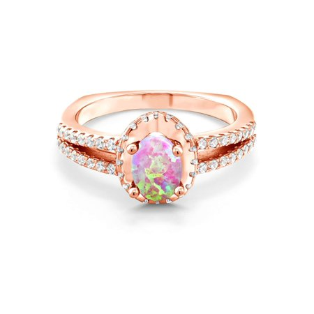 1.13 Ct Oval Cabochon Pink Simulated Opal 18K Rose Gold Plated Silver Ring