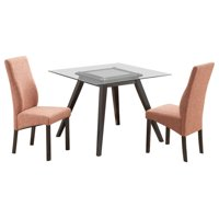 """Pyke 5 Piece Kitchen Dining Set (40"""" Square Flared Leg Cappuccino Table & 4 Pink Parsons Chairs)"""