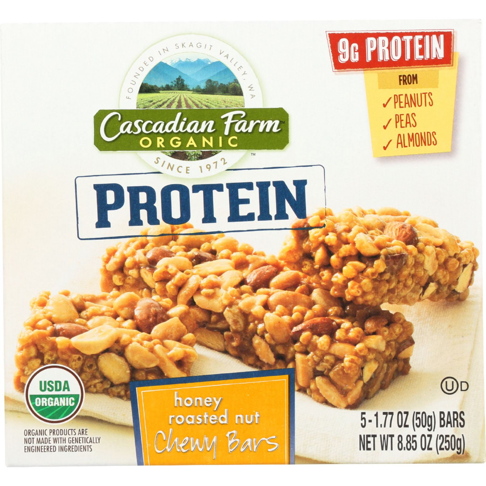 Cascadian Farm Granola Bar - Organic - Protein - Honey Roasted Nut