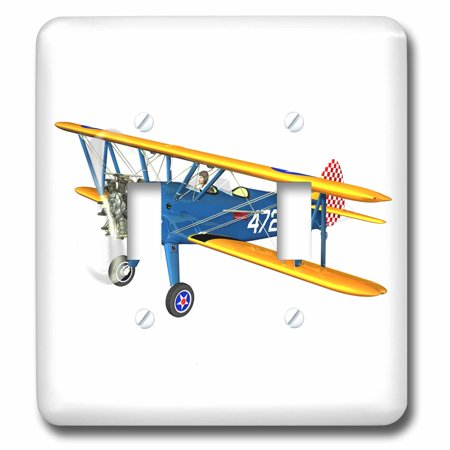 - 3dRose Blue and Yellow Military Training Biplane - Double Toggle Switch