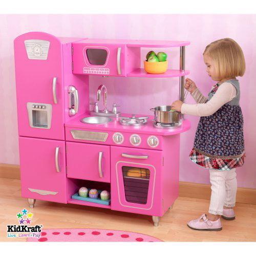 KidKraft Vintage Play Kitchen, Bubblegum Pink