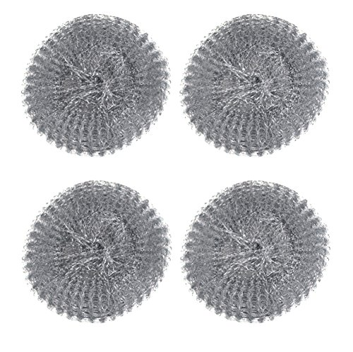 4pc Heavy-Duty Ram-Pro Steel Wool Barbecue Grill Cleaner Pads