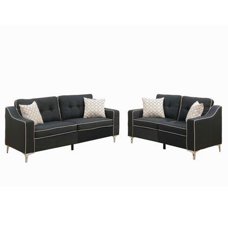 Bobkona Masacci Linen Like Polyfabric 2 Piece Sofa And Loveseat Set In Black