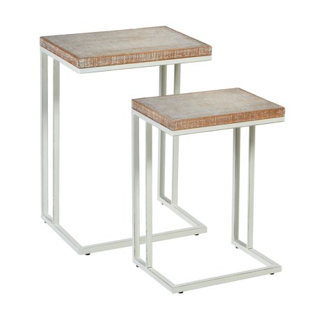 Set Whitewash - CBK Wood 2 Piece Set Whitewash Wavy Pattern Top Nested Side Table 163422