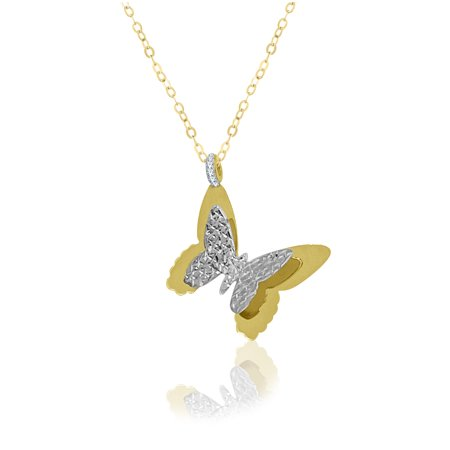 753c32c568d58 10 Karat Gold Two Tone Gold Butterfly Pendant Necklace Made with Zirconia  from Swarovski
