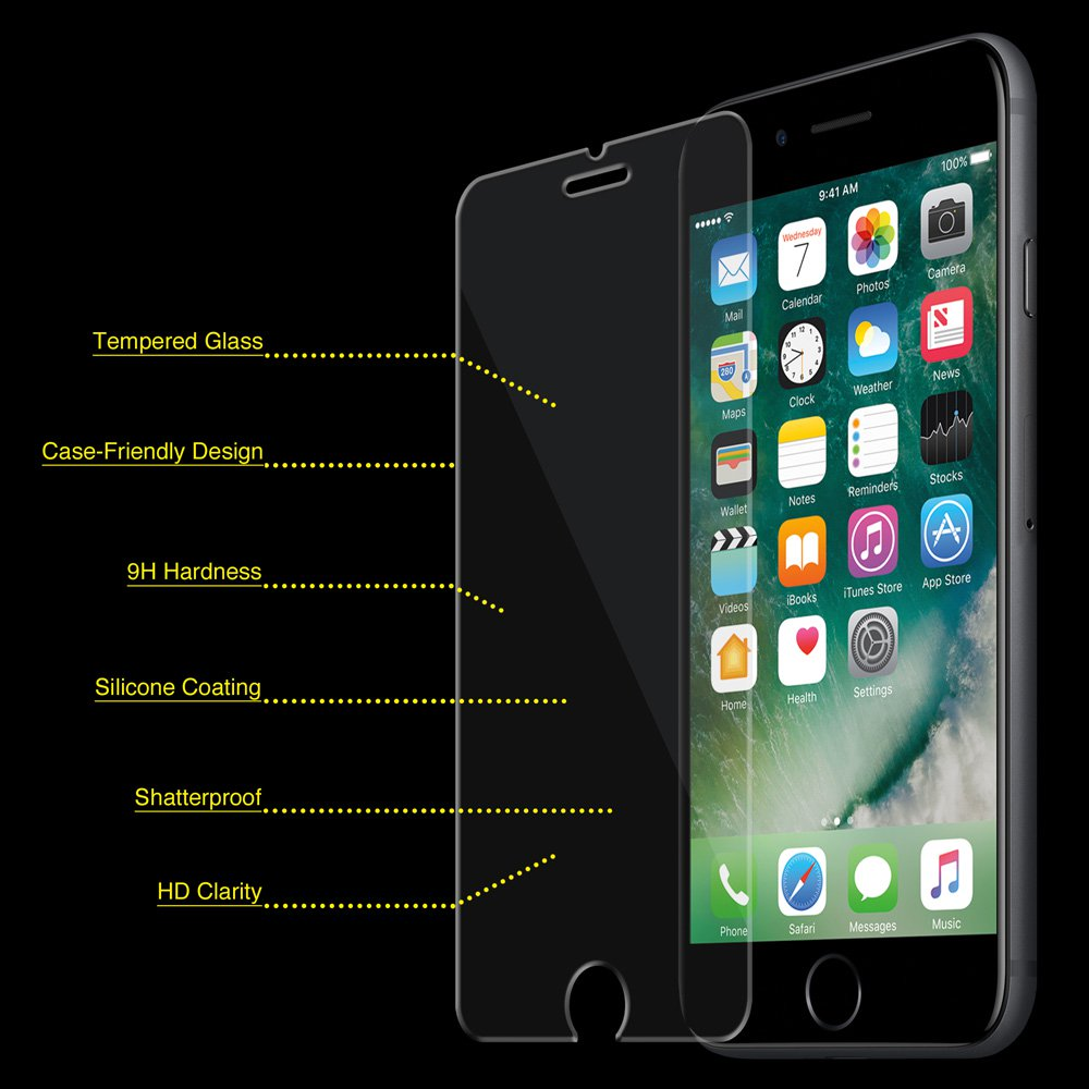 iPhone 6/ 6S Plus Tempered GLASS Screen Protector Bubble Free Scratch Resistant Case Friendly Ultra Thin HD Clear (5.5 Inch)