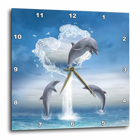 3dRose A dolphin jumps out of a water heart into the ocean, Wall Clock, 15 by 15-inch Blue Dolphins Wall Clock