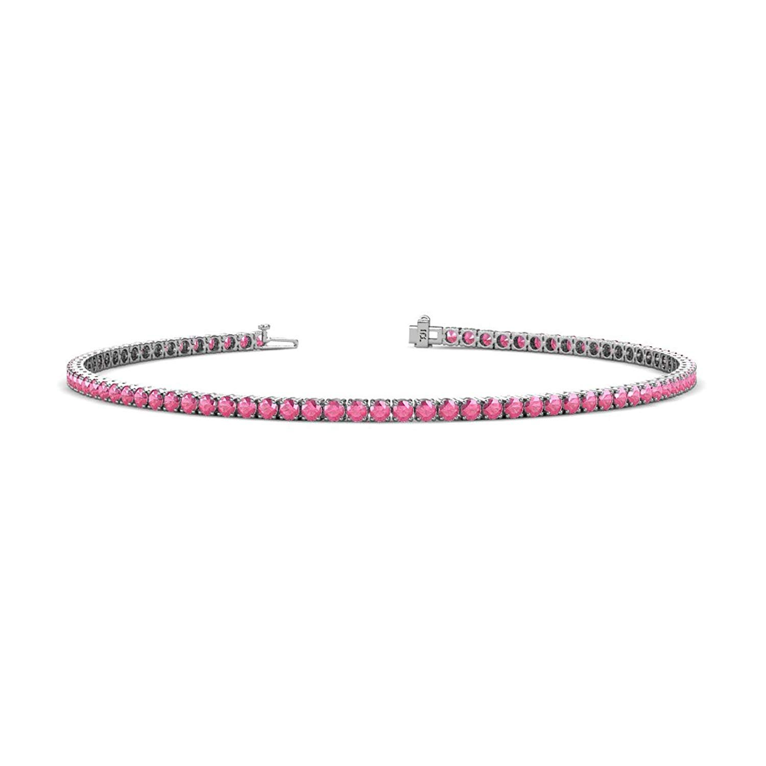 Pink Tourmaline 2mm 4-Prong Tennis Bracelet 1.43 cttw in 14K White Gold by TriJewels
