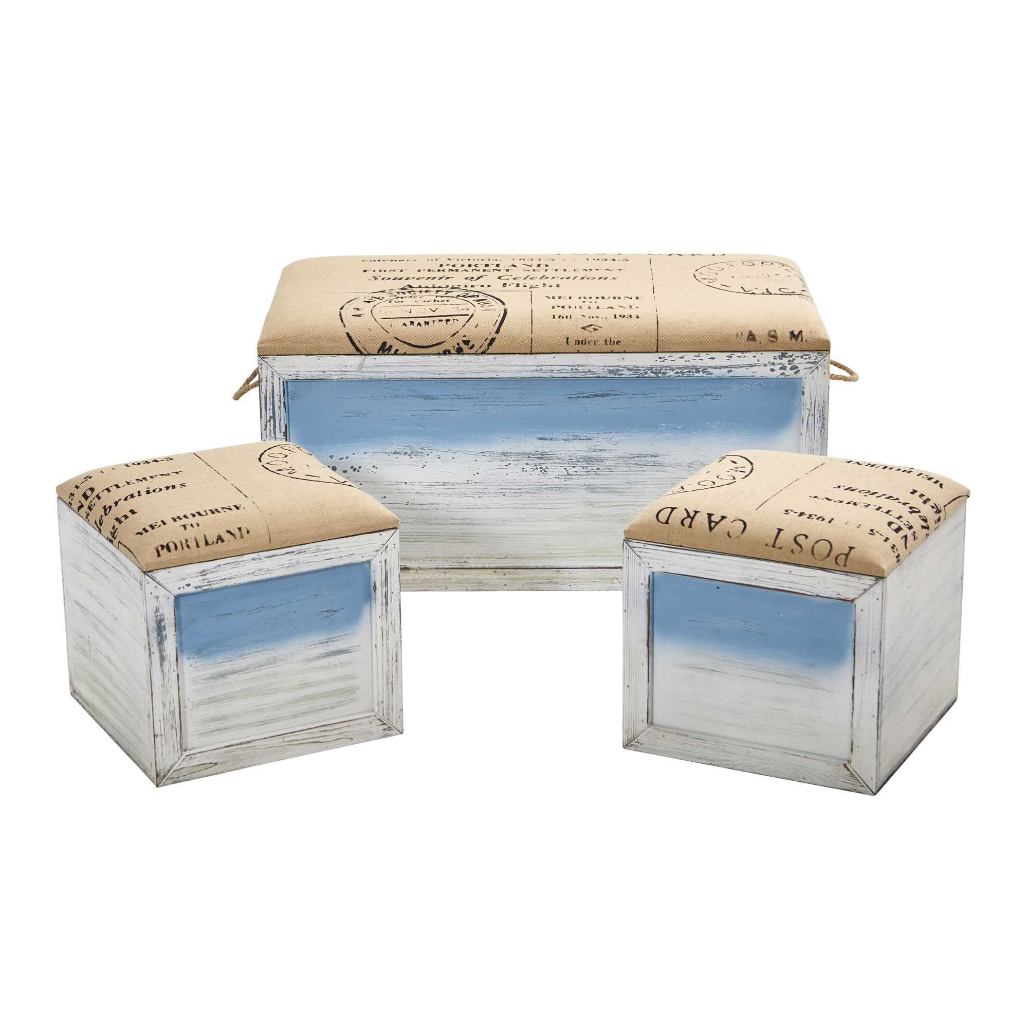 Ocean Breeze Storage Boxes, Bench and Seating Set (Set of 3)