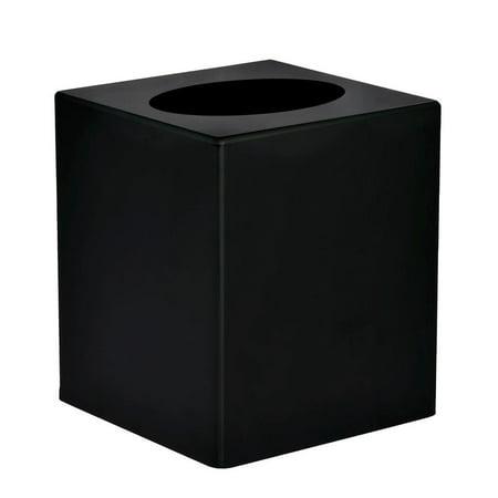 Alpine Industries Black Acrylic Square Tissue Box Cover Satin Tissue Box Cover