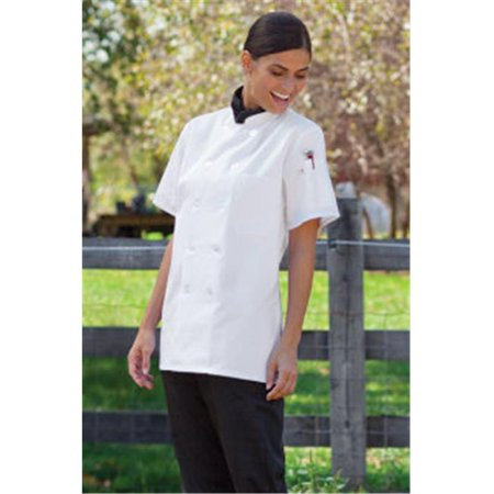 Uncommon Threads 0478-2509 Tahoe Ladies Short Sleeves Chef Coat in White - 5XLarge