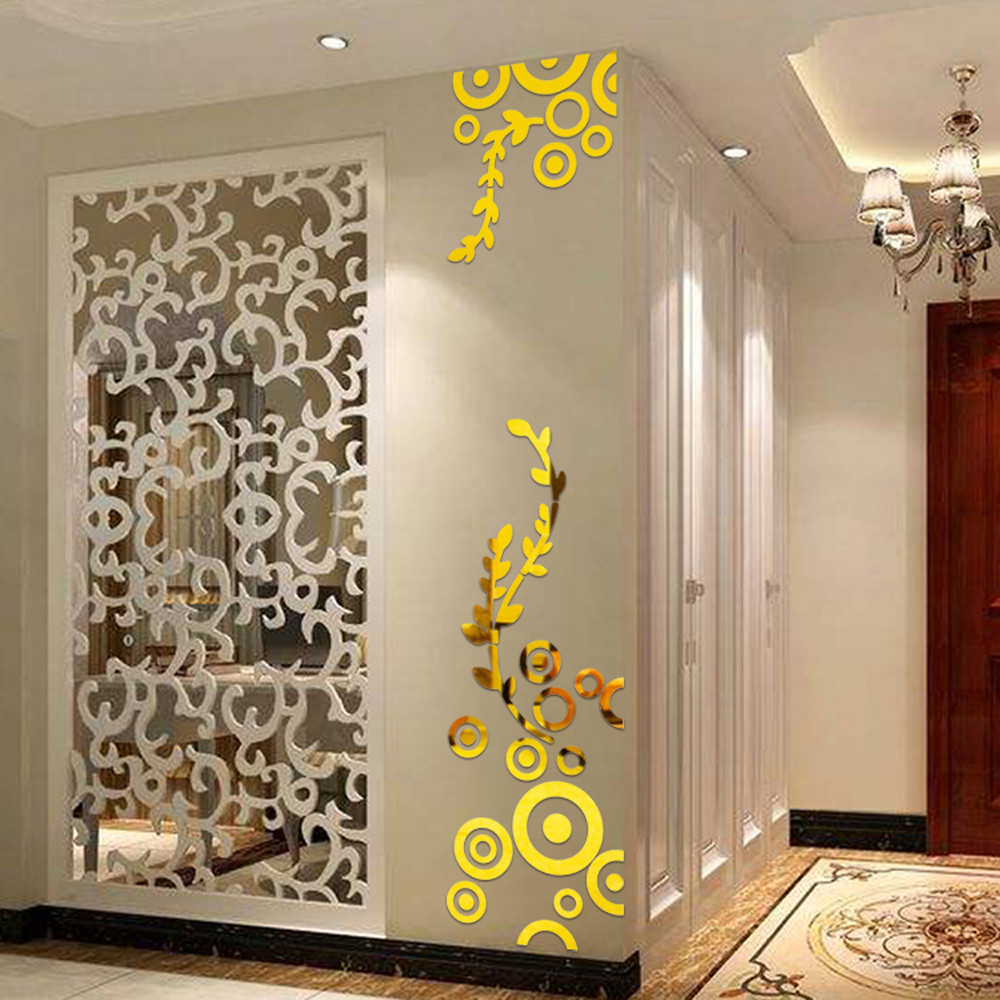 Creative Circle Ring Acrylic Mirror Wall Stickers 3D Home Room Decor Decals SL