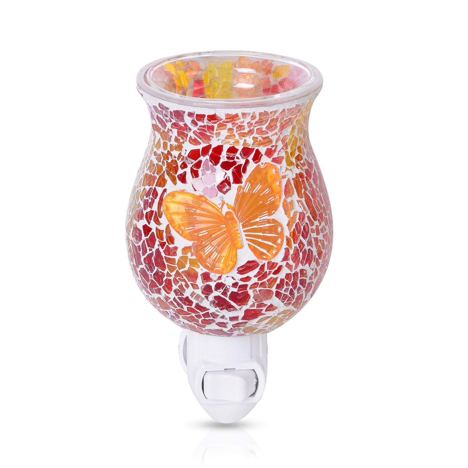 Shop LC Red and Yellow Butterfly Pattern Mosaic Glass Night Light Home Decor 4.5x1.5""