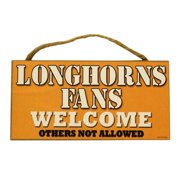 Texas Longhorns Official NCAA 5 inch  x 10 inch  Wood Welcome Sign by SJT Enterprises