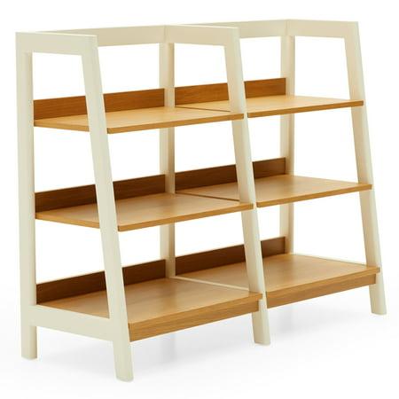 MoDRN Scandinavian Finna Wide Ladder Bookcase