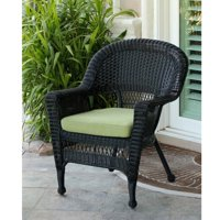 "36"" Black Resin Wicker Outdoor Patio Garden Chair with Green Cushion"