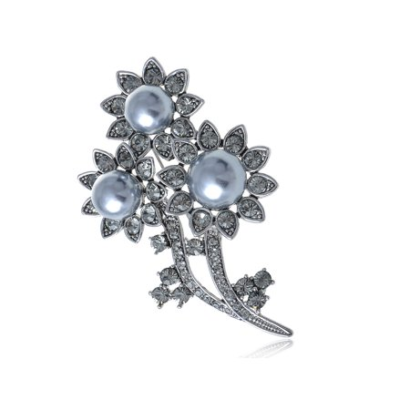 Crystal Faux Brooch - Faux Pearl Sunflower Silver Tone Clear Crystal Rhinestone Pin Brooch For Women Gift