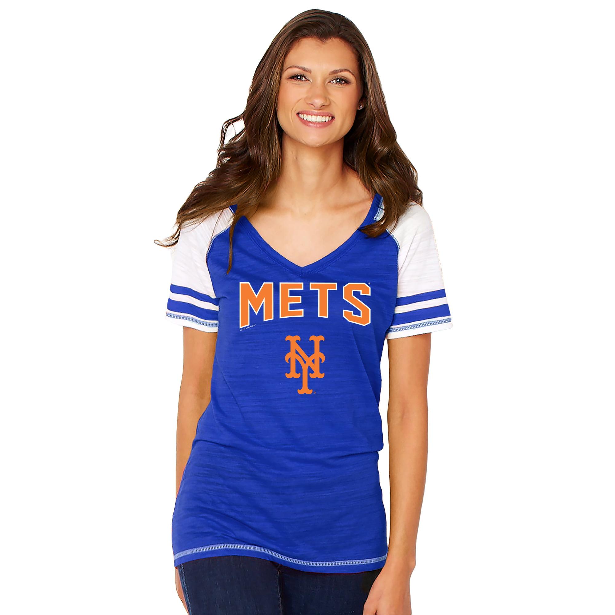 New York Mets Soft as a Grape Women's Sleeve Stripe Gameday V-Neck Tri-Blend T-Shirt - Royal