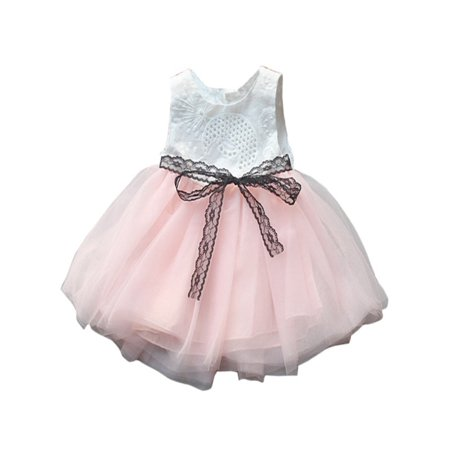 Toddler Baby Girls Summer Sleeveless Lace Tutu Party Princess Dresses Gown - Princess Gowns For Toddlers