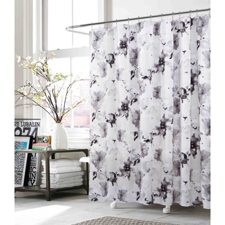 Gray White Black Fabric Shower Curtain Floral Watercolor Modern