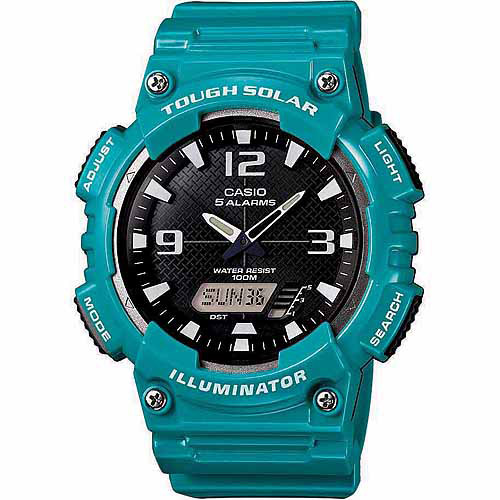 Casio Men's Solar Sport Combination Watch, Green Glossy Resin Strap