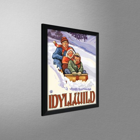 Idyllwild California Family Sledding Travel Art Print Poster by Paul A   Lanquist (9
