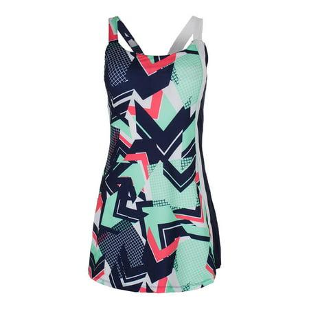 35b409429326 Women`s Heritage Tennis Dress Retro Print and Diva Pink - Walmart.com
