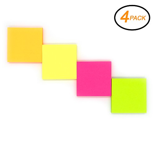 """Emraw Sticky Notes Stickies, Plain Small 3"""" x 3"""" Square Neon Colored Removable Self Stick On Note Memo Pad for Office, Home, School - Pack of 4 Pads"""