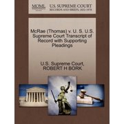 McRae (Thomas) V. U. S. U.S. Supreme Court Transcript of Record with Supporting Pleadings