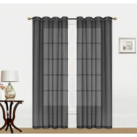 Dash Panel Cover (Megan Sheer 54x84 Curtain Panel with Grommets, Decorative Silver Dash Print Voile Window Treatment for Bedroom, Living Room, Kitchen (2 Pack, Black) )