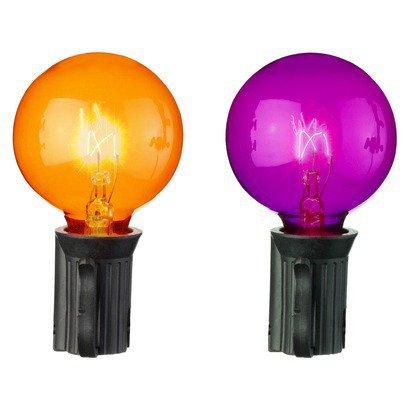set of 10 transparent orange and purple g40 globe halloween lights black wire