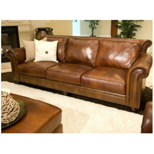 Paladia Top Grain Leather Sofa In, Rustic Leather Furniture