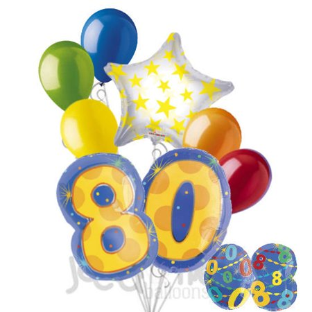 80th Birthday Balloons (8 pc 80th Birthday Theme Balloon Bouquet Party Decoration Number Primary)