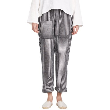 Women Casual Striped Elastic High Waist Trousers Baggy Pants