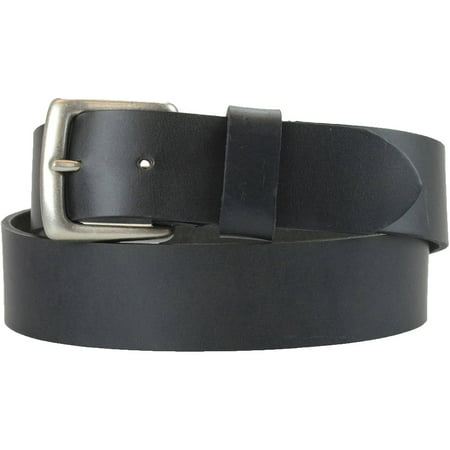 Black Leather Plaque Buckle Belt - 1-1/2 in. US Steer Hide Harness Leather Men's Belt w/ Antq. Nickel Buckle