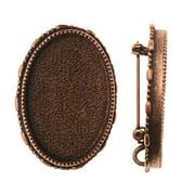 Nunn Design Antiqued Copper Plated Oval Brooch Bezel Pendant 26x39mm (1)