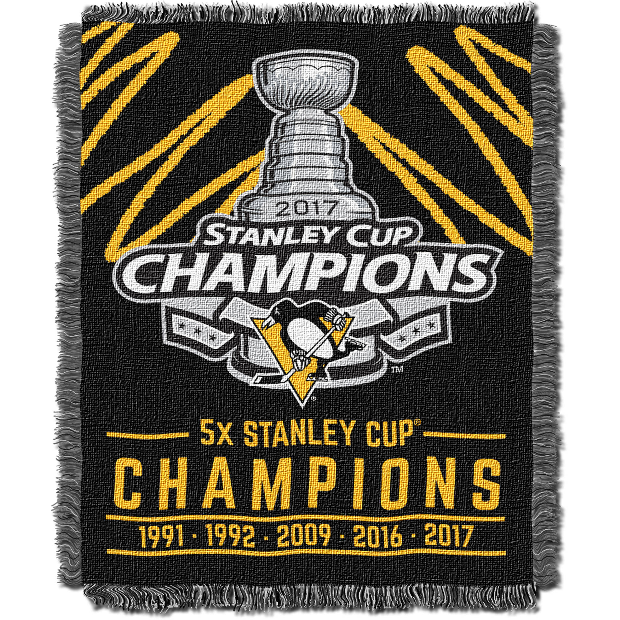 "Official National Hockey League Pittsburgh Penguins ""2017 Stanley Cup Champions"" Triple-Woven Jacquard Throw, 46"" x 60"" 894587"