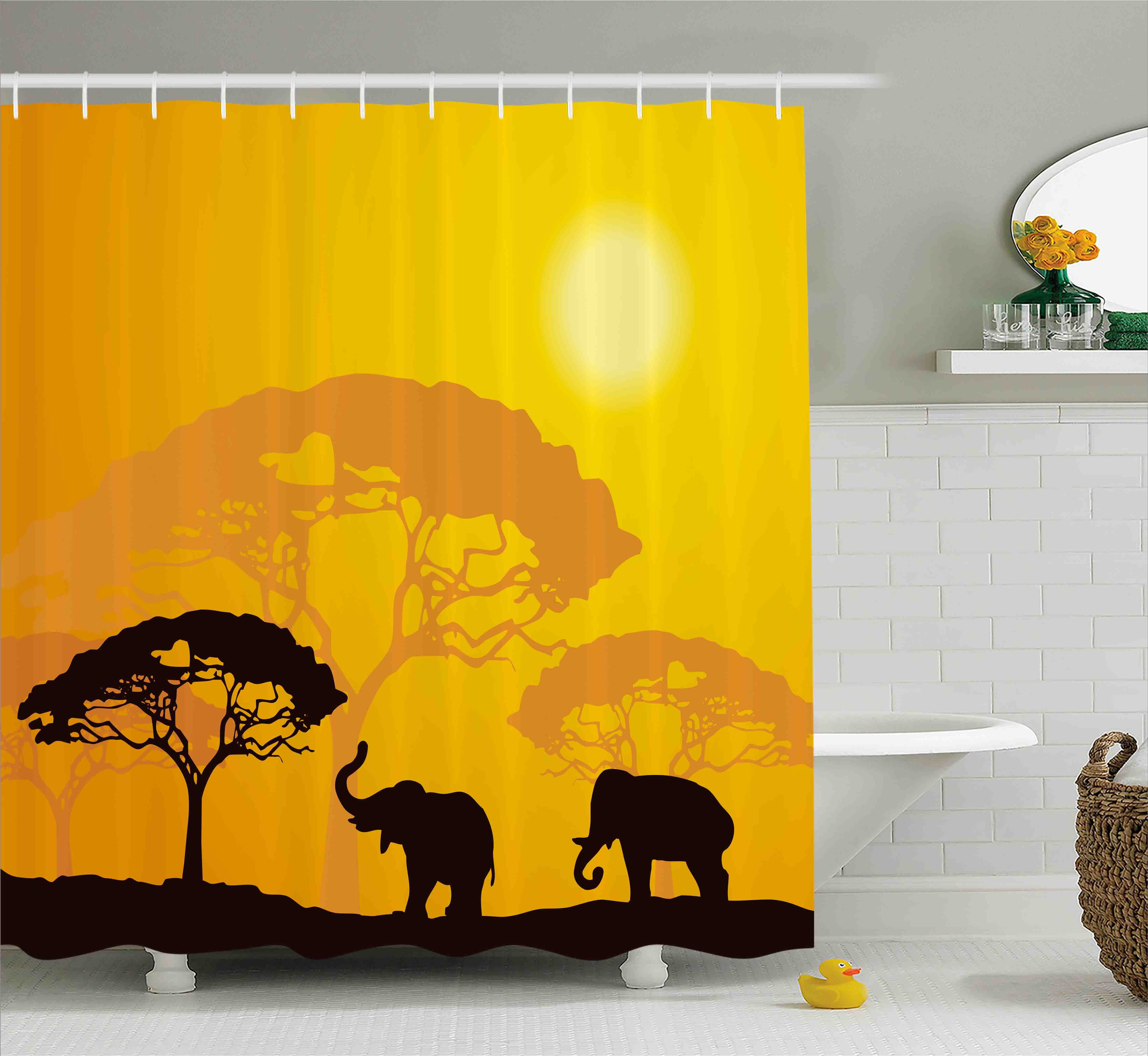 Safari Shower Curtain, African Wildlife Animals Elephants Sun Beams Trees Print Art, Fabric Bathroom Set with Hooks, Earth Yellow Marigold Dark Brown, by Ambesonne