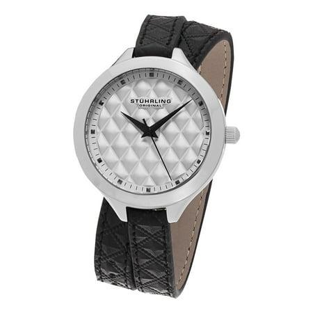 Stuhrling Original  Women's Vogue Quartz Black Double Wrap Leather Strap Watch