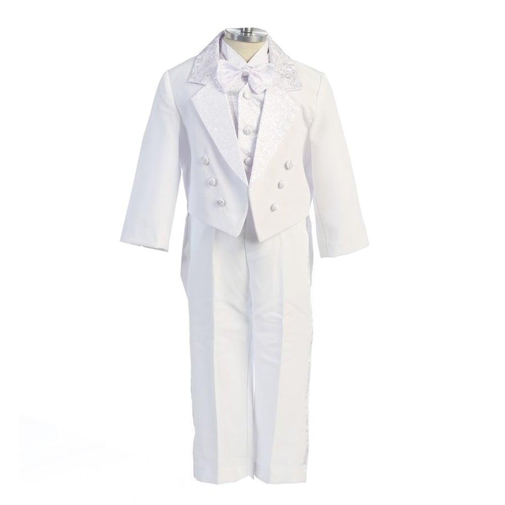 Angels Garment White 5 Piece Angel Vest Tuxedo Baptism Se...