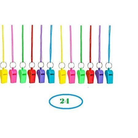 24 Colorful Neon Necklace Whistles ~ 2 Dozen Fun noise making Whistles ~2'' Party Birthday Favors ~ EASTER Basket Filler Prize Fairs /Sports Team/ Gifts Loot Bags/