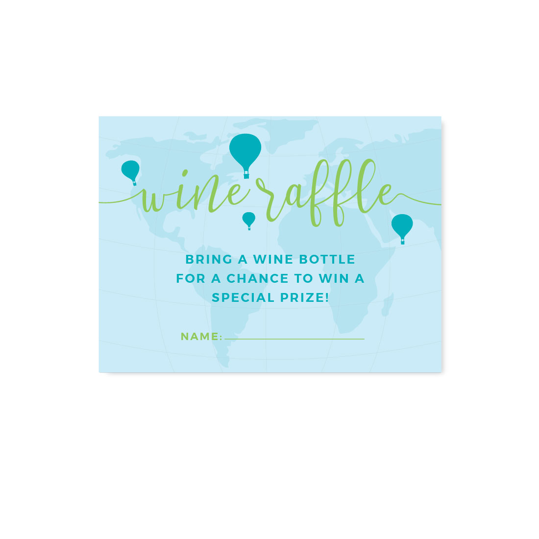 Hot Air Balloon Adventure World Map Party, Blue Green, Wine Bottle Raffle Cards, 30-Pack, Games