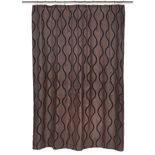 Carnation Home Fashions Geneva Fabric Shower Curtain with Poly Taffeta Flocking 72L 70W