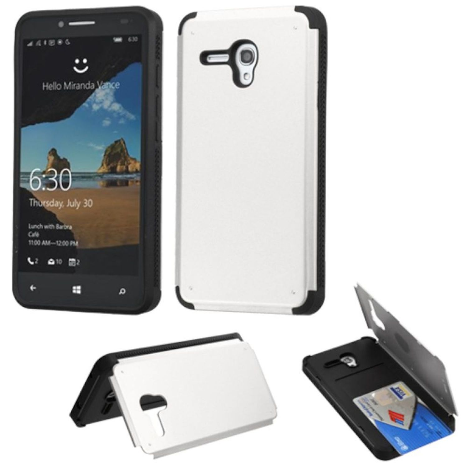 Insten Hard Rubber Cover Phone Case w/card slot For Alcatel One Touch Fierce XL - Silver