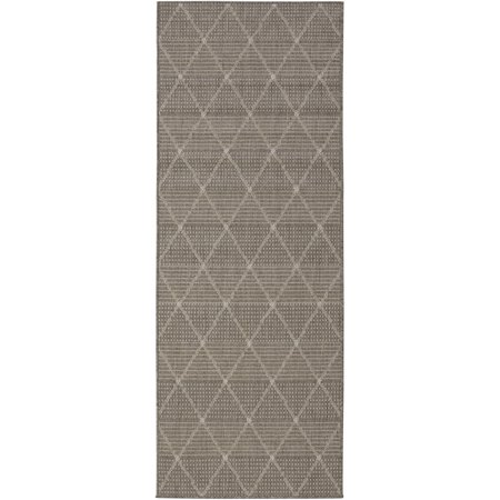 Berrnour Home Summer Collection Natural Geometric Trellis Design Indoor / Outdoor Runner Rug, 2