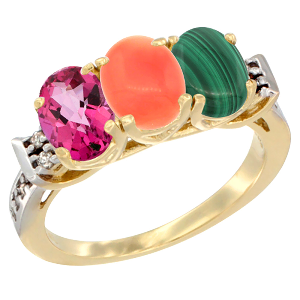 14K Yellow Gold Natural Pink Topaz, Coral & Malachite Ring 3-Stone Oval 7x5 mm Diamond Accent, sizes 5 10 by WorldJewels
