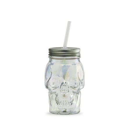 Way To Celebrate Iridescent Glass Skull Sipper
