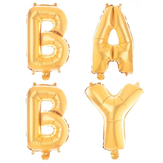 Non-Floating BABY Balloons Decorations for Baby Shower Gender Reveal Party, Small 13 Inch (Gold)