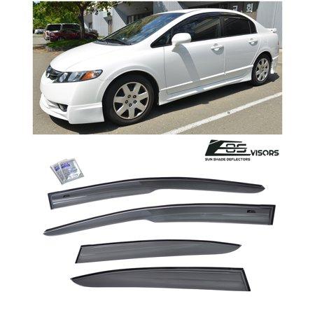 Extreme Online Store for 2006-2011 Honda Civic 4Dr Sedan | EOS Visors JDM Mugen ll Tape On Style Side Vent Window Deflectors Rain Guard FD1 FD2 Si