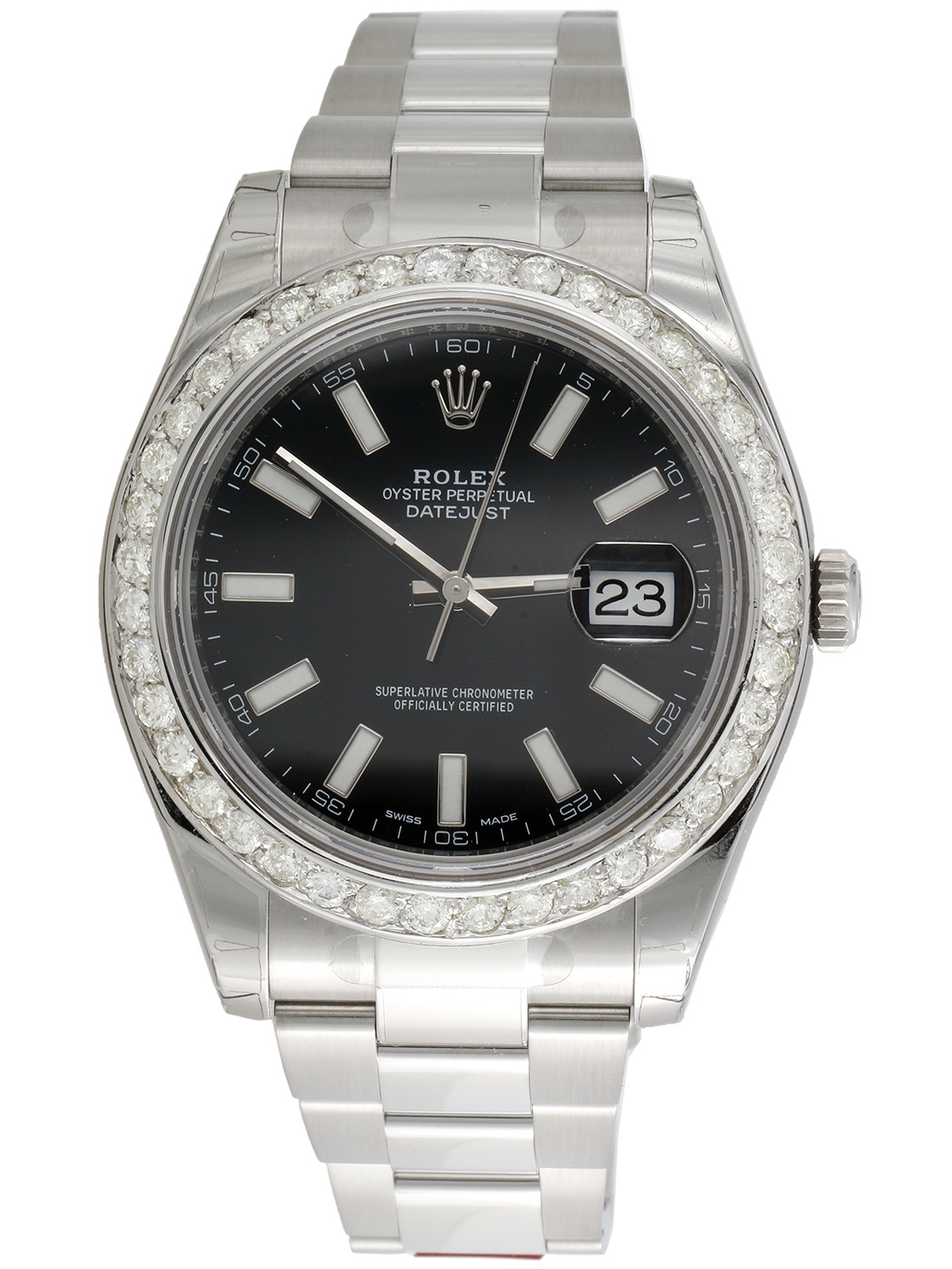 Mens 41mm 116300 Rolex DateJust II Real Diamond Watch Black Stick Dial 2.75 CT.